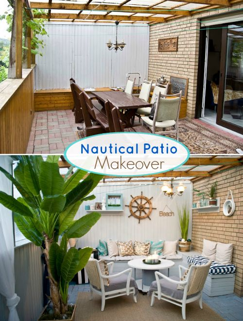 Nautical Beach Patio Makeover: http://www.completely-coastal.com/2016/06/nautical-beach-patio-makeover-before-after.html