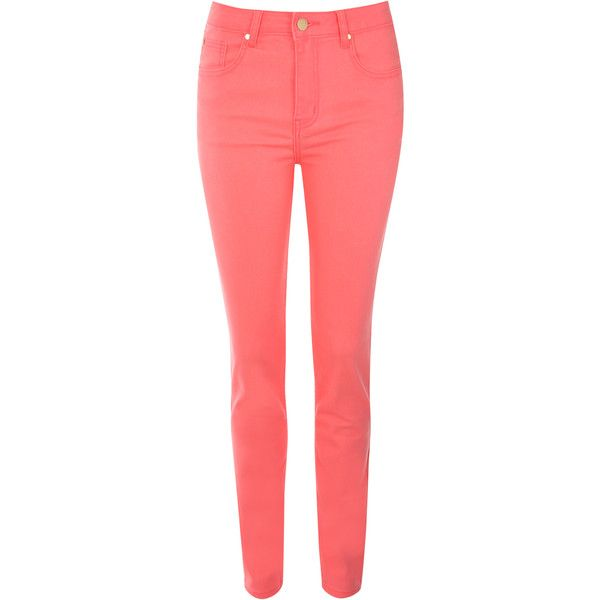Jane Norman Neon Coloured Skinny Jeans (40 CAD) ❤ liked on Polyvore featuring jeans, pants, bottoms, pantalones, pink, super skinny jeans, neon jeans, neon pink jeans, denim jeans and red jeans