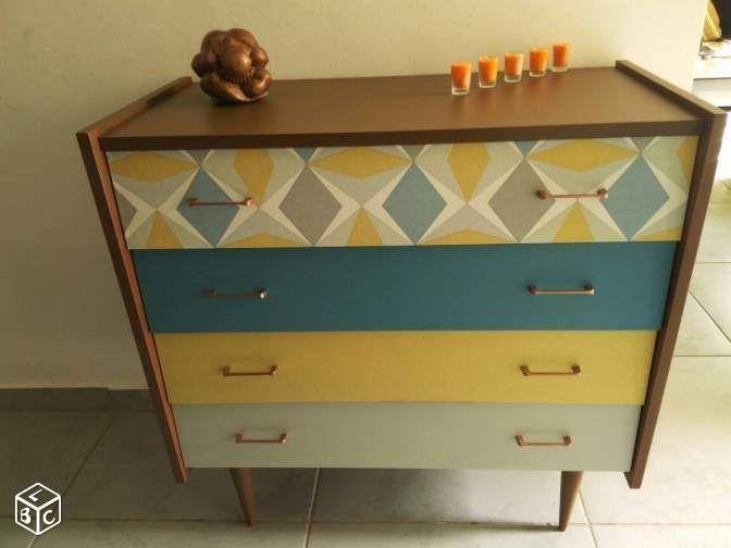 magnifique commode vintage relook e bureau enfant pinterest relooker commodes et meubles. Black Bedroom Furniture Sets. Home Design Ideas