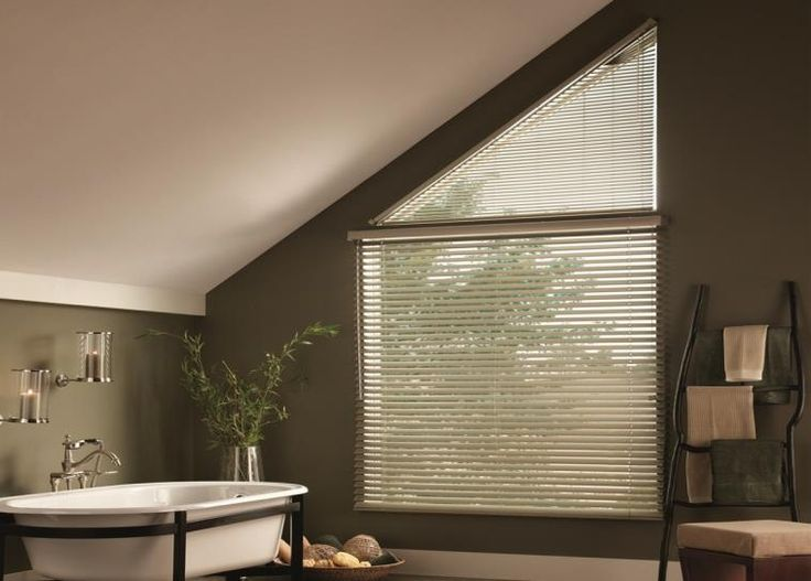 Moisture resistant aluminum blinds are perfect for the bathroom, with a custom fit for any window. #BudgetBlinds