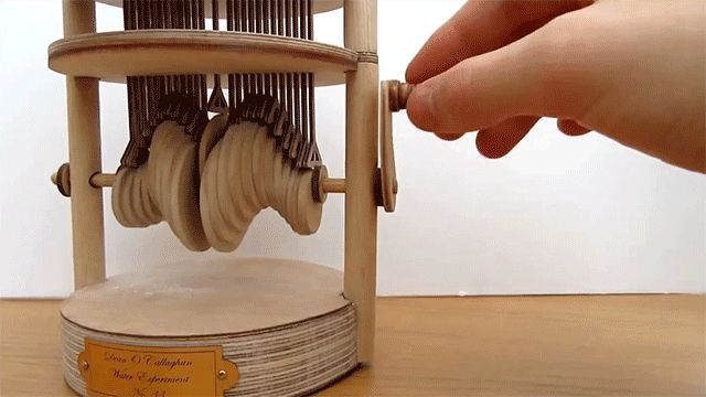 A Hand Cranked Automaton That Mimics the Effect of a Raindrop Hitting Water wood water kinetic automata