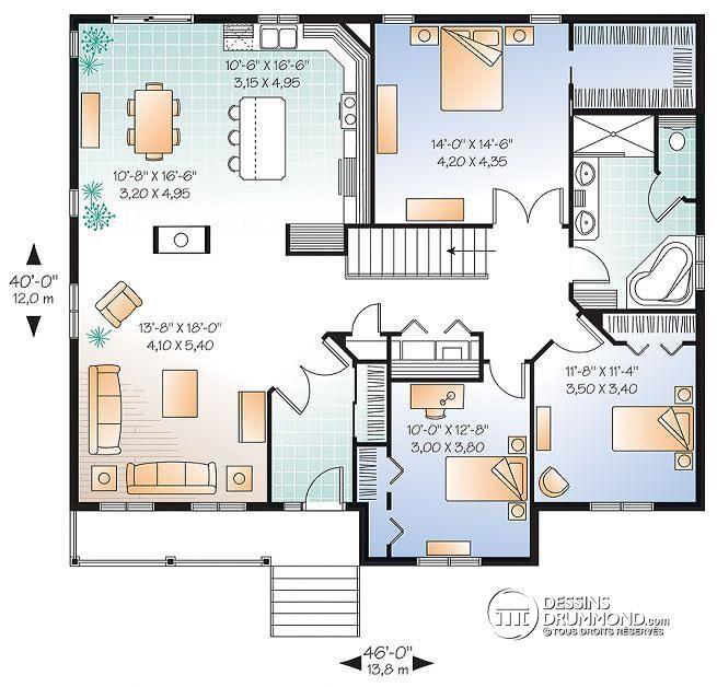 Plan De Rez De Chaussée Plain Pied 3 Chambres, Maison économique Champêtre