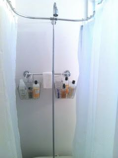 This Pinterest Life: Clawfoot tub shower caddy. Never thought of this!! Will probably need this one day.