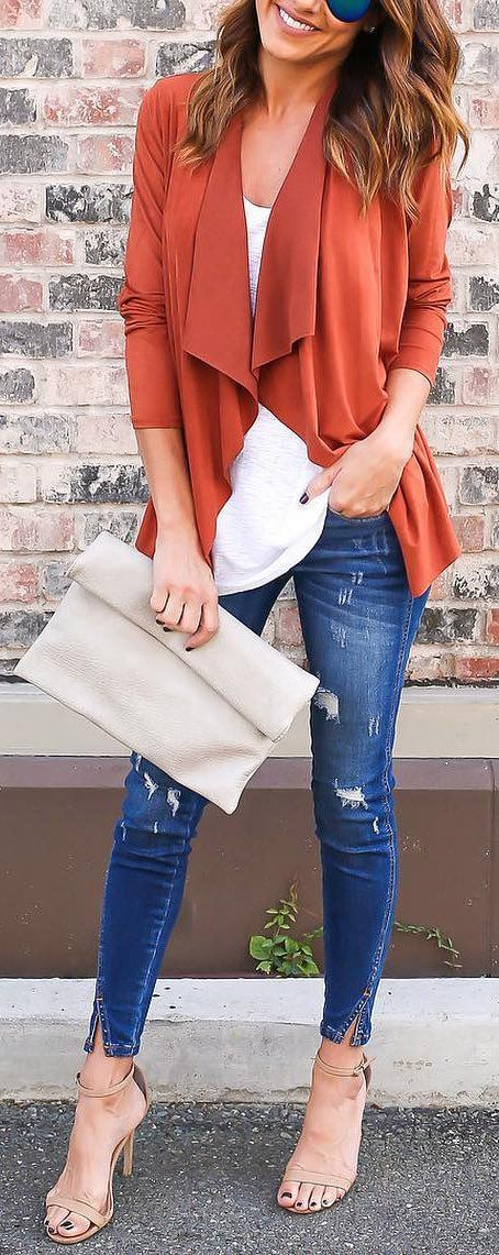 #cute #outfits Orange Cardigan // White Top // Ripped Skinny Jeans // Nude Sandals
