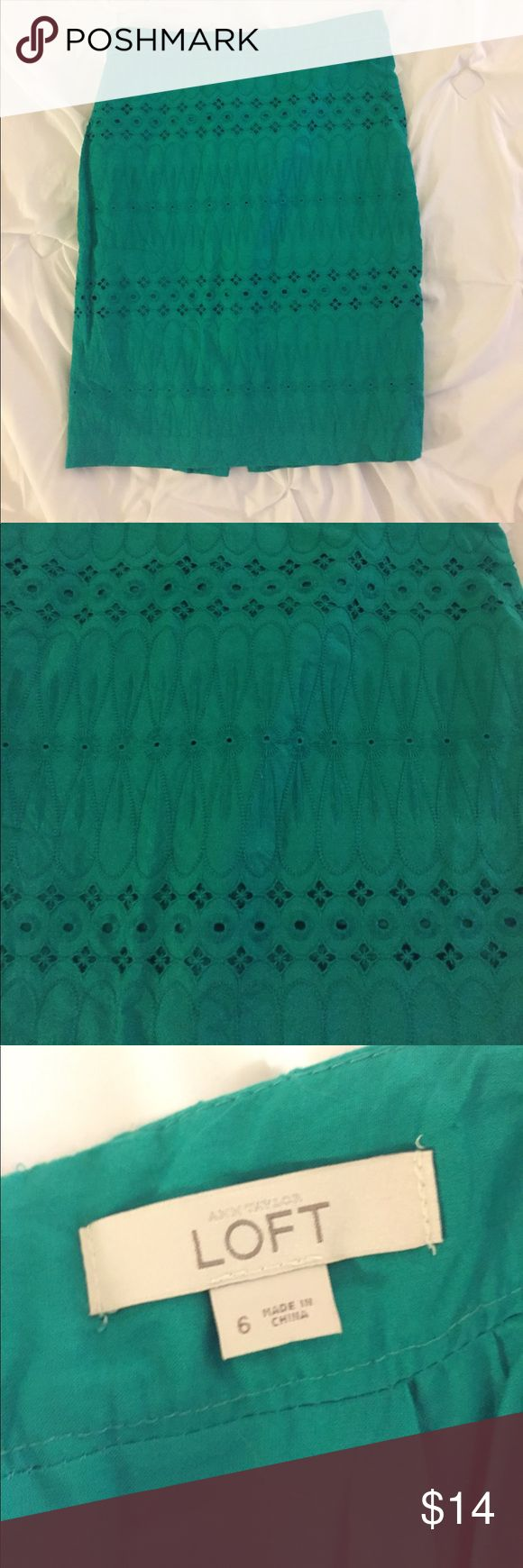 Loft Green Pencil Skirt Very good condition!  Bright green color. LOFT Skirts Pencil
