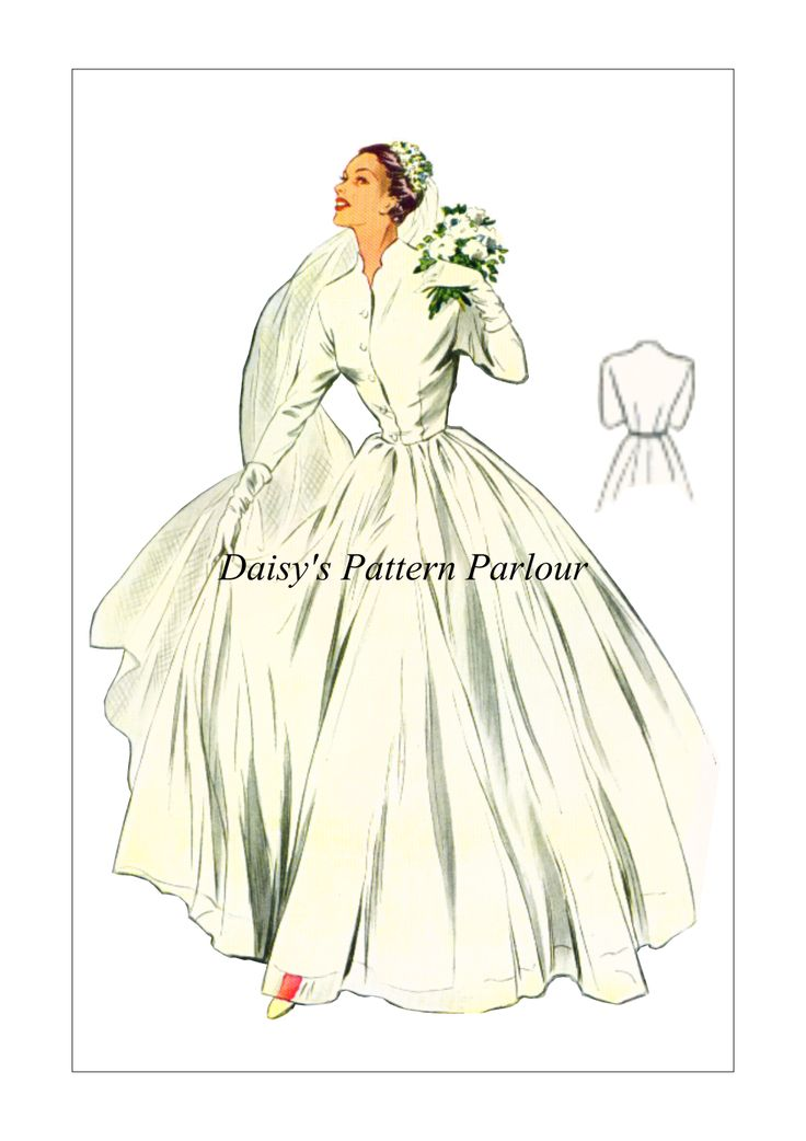£14.99 Multi sized vintage wedding dress sewing pattern from the 1950s. Daisy's Pattern Parlour for high quality digitally remastered vintage sewing patterns: iconic designs, movie fashions, vintage sewing patterns and cosplay sewing patterns. View the online shop today!
