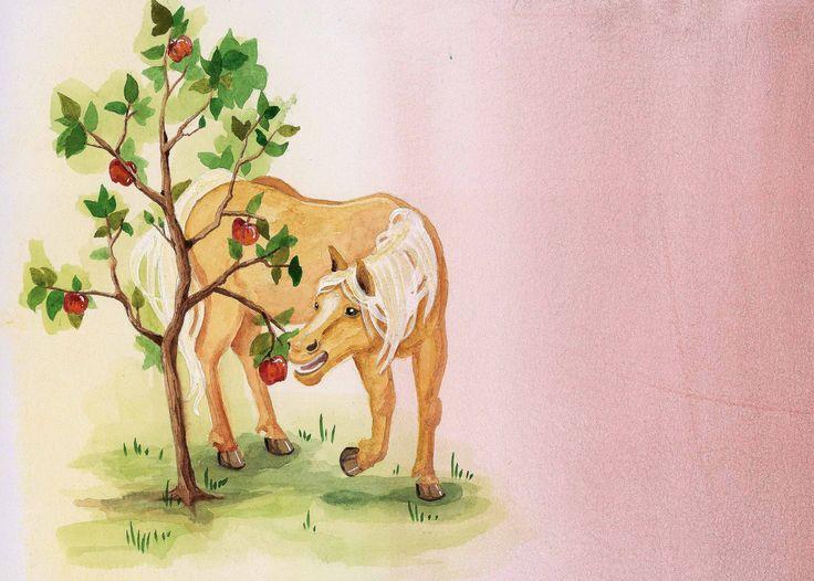 Les fabliaux des Animaux - Le cheval et le pommier - Illustré par Clara Vialletelle - Le journal de Fanette et Filipin N°18