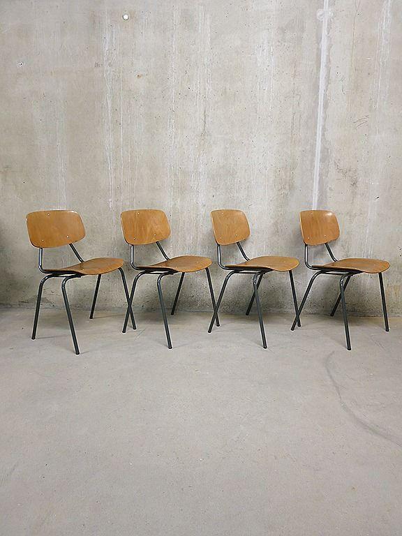 Vintage retro Kho Liang le plywood chairs- schoolstoelen industrieel