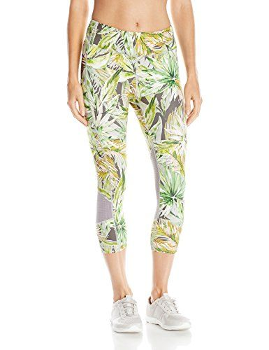 Karen Kane Women's Active Crop Pant Print Mesh Contrast, Painted Palms, Large
