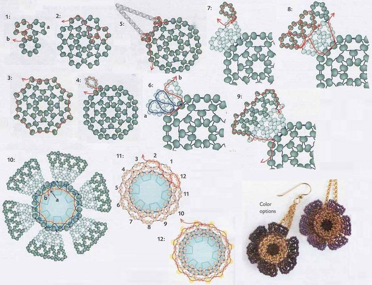 схема плетения серег-цветочков