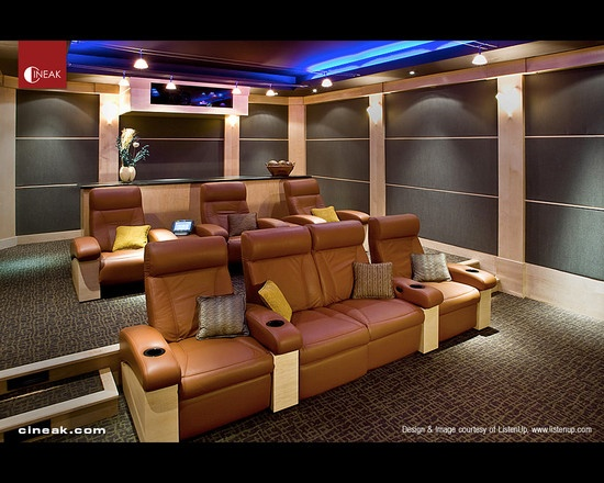 Cineak fortuny seats used in modern home theater for Home theater seating design ideas