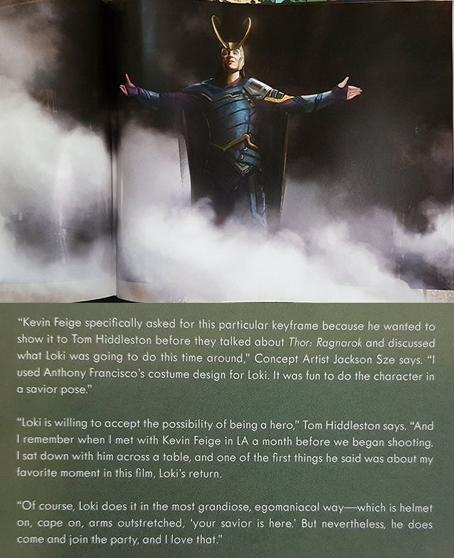 """'""""And I remember when I met with Kevin Feige in LA a month before we began shooting....one of the first things he said was about my favorite moment in this film, Loki's return.""""' (https://twitter.com/n0namae/status/931574209175740417 )"""