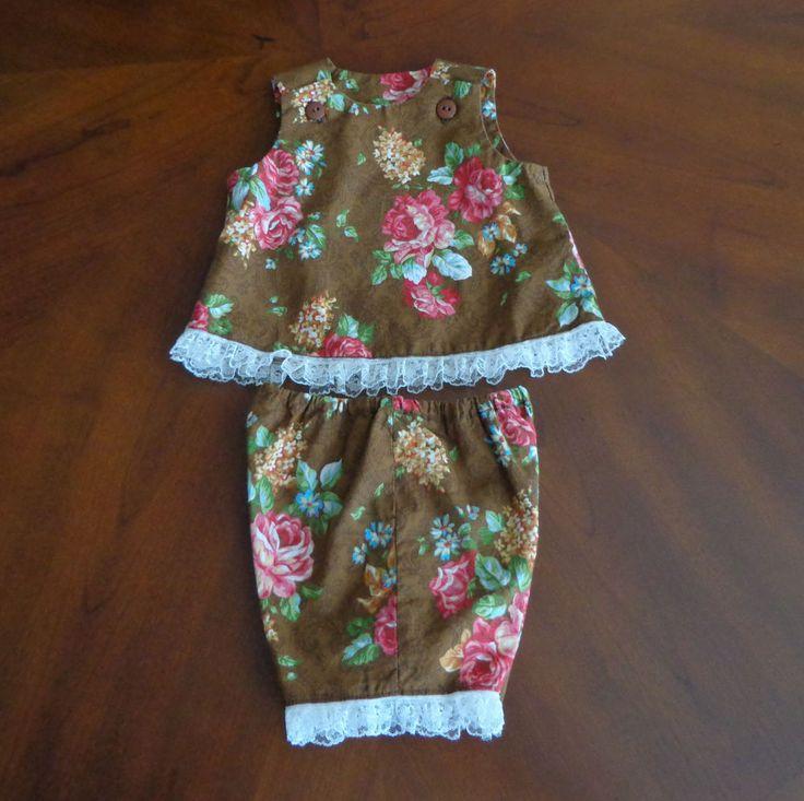 0-3 month  Baby or reborn doll top & shorts set  handmade brown & pink #Handmade #Everyday