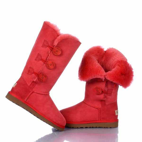 UGG Bailey Button Triplet Boots 1873 red $120.99