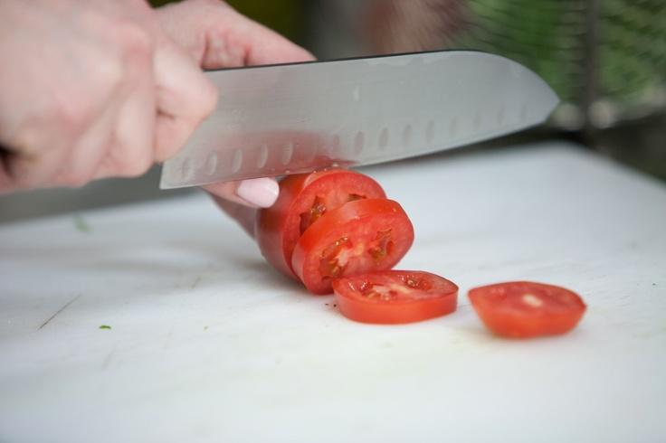 Fresh tomato...Mmmmm...Food prep at Eden Burger Bar in Glendale, CA!
