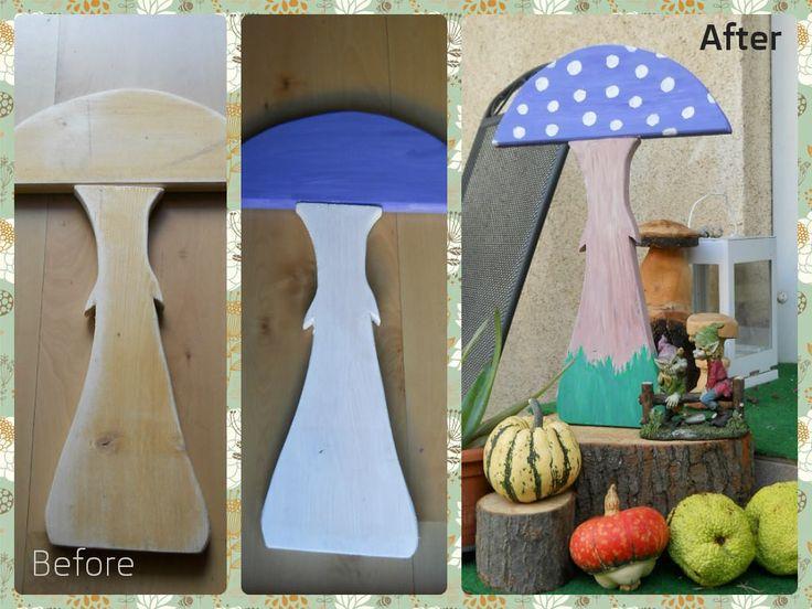 DIY, painted wood mushroom, garden