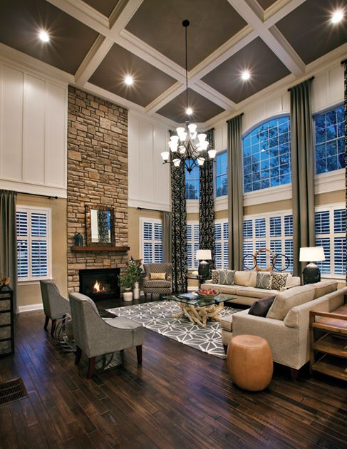 Family Living Room Design: Two-Story Family Room With Stone Fireplace
