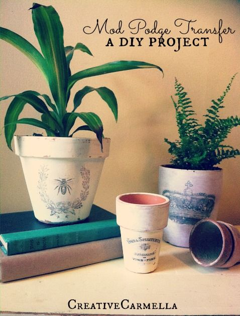 Image Transfer With Mod Podge... shabby chic flower pots