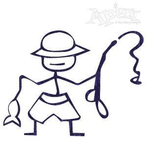 "Fisherman Stick Embroidery Design. Size: 3.31"" x 2.56"""