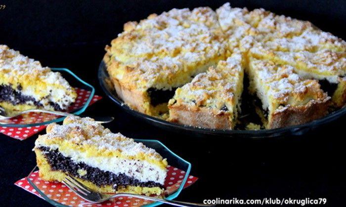 Lahodný strouhaný makovo tvarohový koláč. Kombinace máku a tvarohu je vynikající, určitě vyzkoušejte.