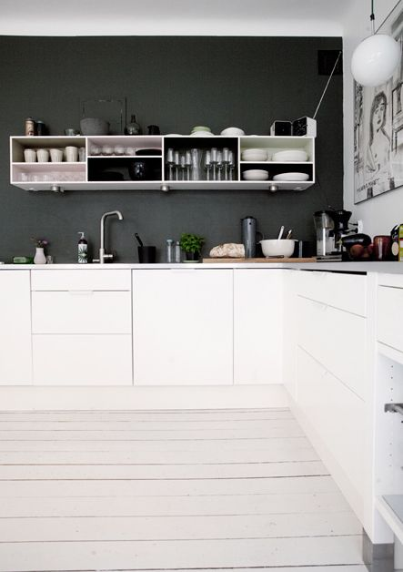 white kitchen against charcoal wall + open shelving