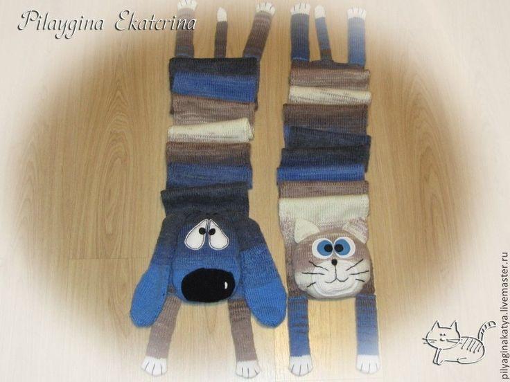 Шарфики Кот и Такса - синий,шарф для девочки,шарф для мальчика,шарф для девушки