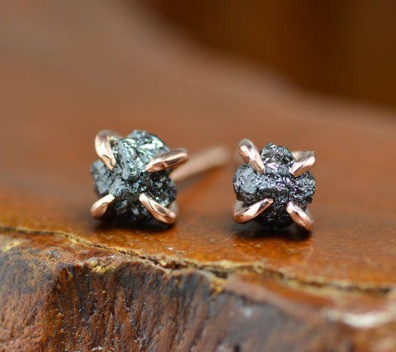 Pendientes de diamante en bruto negro oro color de rosa de 14 k