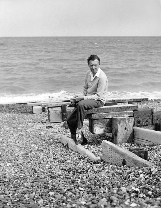 The composer Benjamin Britten on the beach in his home town of Aldeburgh, Suffolk