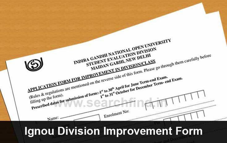 Ignou Division Improvement Form Division - student evaluation forms