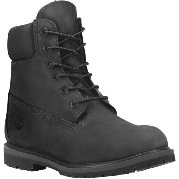 """Timberland Women's Timberland® Icon 6"""" Premium Boot Boots ($130) ❤ liked on Polyvore featuring shoes, boots, black nubuck, lacing boots, front lace up boots, multi colored boots, lace up shoes and laced boots"""