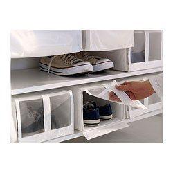 IKEA - SKUBB, Boîte à chaussures, blanc, , Le filet permet de voir les chaussures à l'intérieur de la boîte.Le rabat transparent de la boîte à chaussures s'ouvre et se ferme simplement à l'aide de la fermeture auto-agrippante.Les quatre boîtes s'intègrent côte à côte dans une structure d'armoire de 100 cm de large.Lorsque vous n'utilisez pas la boîte et que vous voulez gagner de l'espace, ouvrez la fermeture dans le fond et applatissez la boîte.
