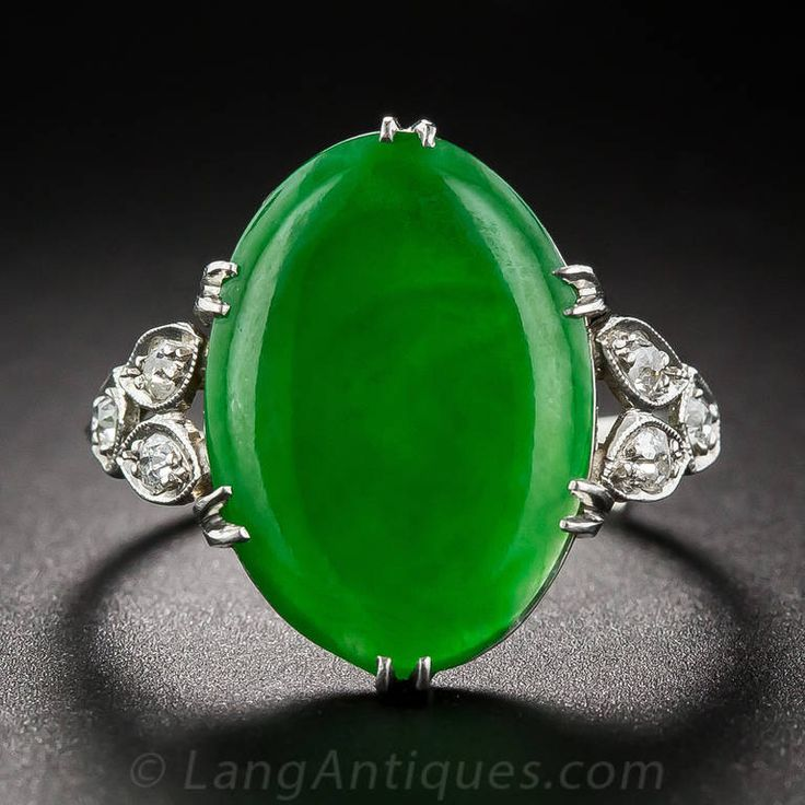 Natural Jade Diamond Platinum Ring | From a unique collection of vintage cocktail rings at https://www.1stdibs.com/jewelry/rings/cocktail-rings/