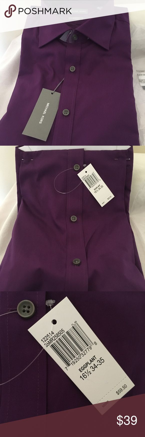Michael Kors Men's Slim Fit Dress Shirt -Eggplant Eggplant color Men Size Chart in Pic Michael Kors Shirts Dress Shirts