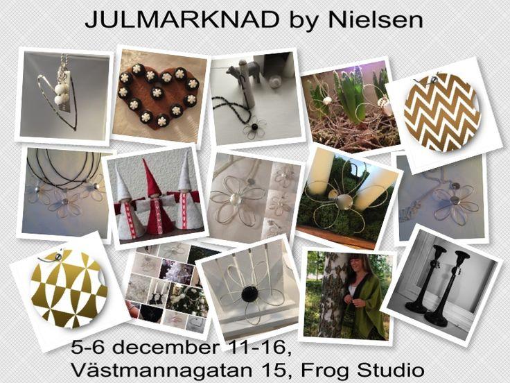 JULMARKNAD by Nielsen Västmannagatan 15 Lördag och söndag 5-6/12  kl. 11:00-16:00 Under 2:a adventshelgen råder julyra i g:a biografen på Västmannagatan 15, Stockholm. Här samsas nya och gamla jultraditioner och bildar en härlig mix. Det blir hantverk, design, julsaker, pyssel, julfika, julgodis,smycken, vintage, ljusstakar Blacky chic, sjalar och en hel del annat..... Varmt välkomna!