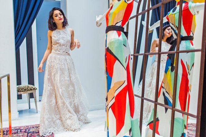 "Vanessa Hudgens tried on a dress at a SoHo store in search of one suitable for a party keyed to the Broadway opening of ""Gigi,"" in which she stars"