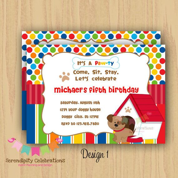 DIY PawTy Birthday Invitation Personalized by SerendipityPrintable, $12.00