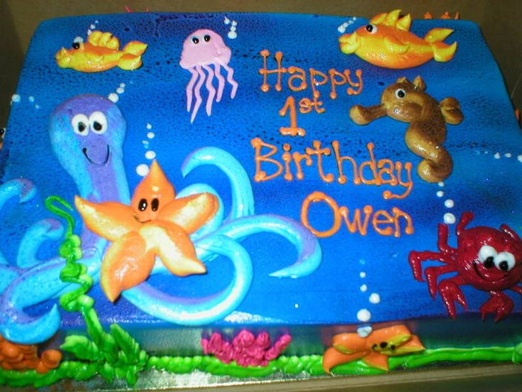 Under The Sea Themed sheet Cakes | 1st birthday cake we had an under the sea themed party img