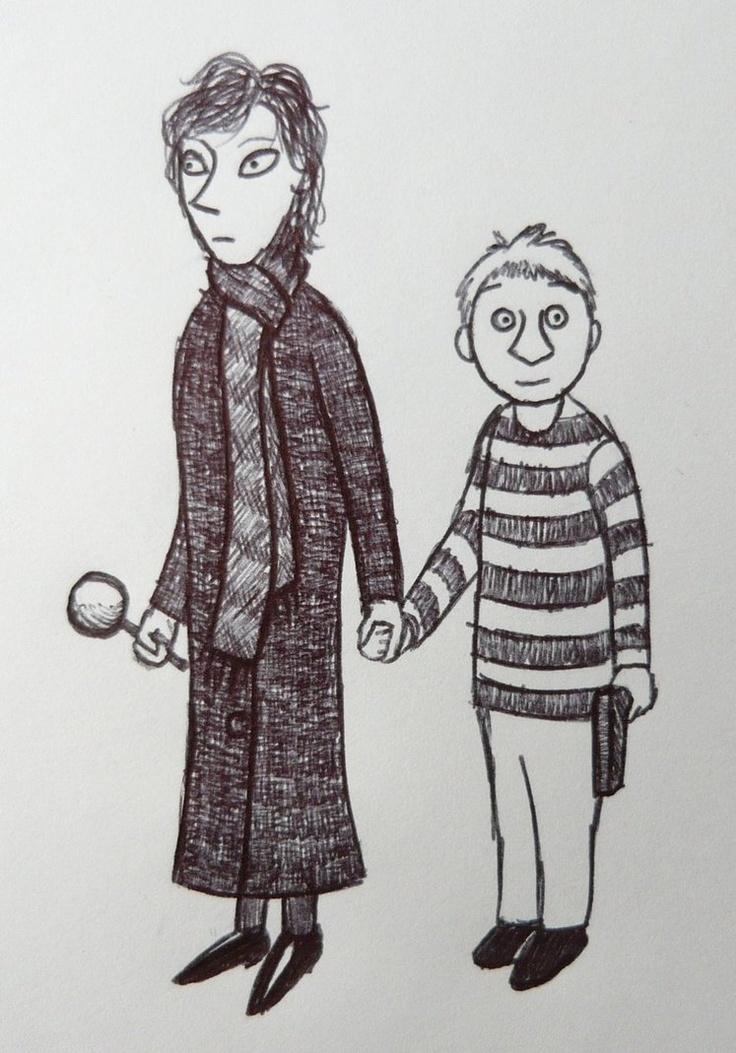 Tove Jansson-inspired ballpoint drawing of Sherlock and John. :)