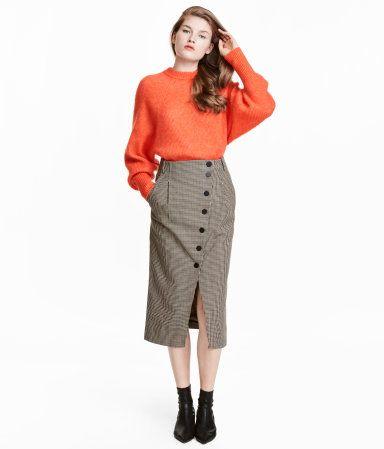 Houndstooth-patterned Skirt | Beige/houndstooth | WOMEN | H&M US