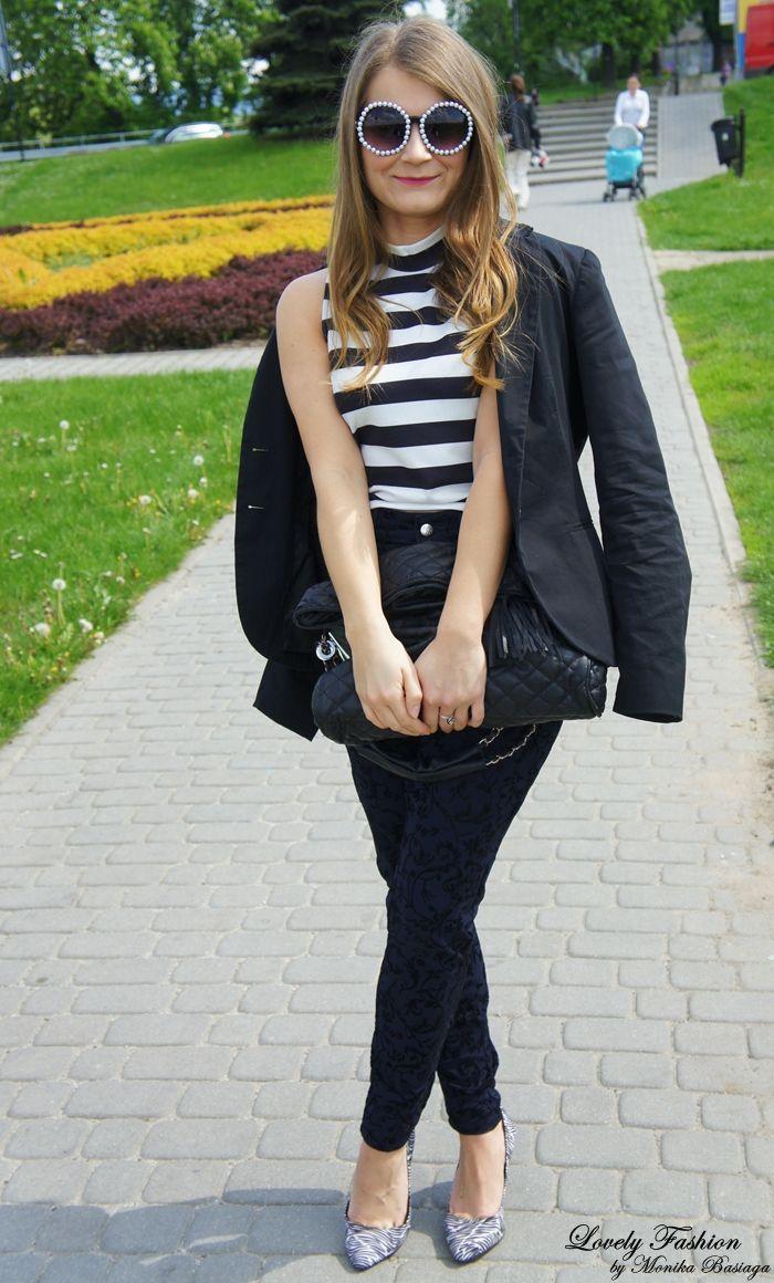 spring outfit / look; floral design; animal print (zebra); stripes; top - Stradivarius (AW'13) spodnie / pants - Mac (second hand + alternation / przeróbka) marynarka / blazer - Stradivarius (second hand - from my mum's friend / od koleżanki mamy:) buty / shoes - Bershka (AW'13) torebka / bag - Reserved (AW'10) okulary / sunglasses - Sinsay (SS'14) + DIY pierścionek / ring - NN (gift from my mum / prezent od mamy:) kolczyki / earrings - NN (gift from my mum / prezent od mamy:)