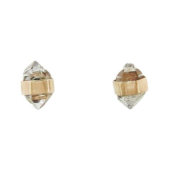 Melissa Joy Manning Gold Herkimer Diamond Stud Earrings ($225) ❤ liked on Polyvore featuring jewelry, earrings, gold, 14k yellow gold earrings, diamond earrings, long diamond earrings, 14 karat gold stud earrings and 14k gold jewelry