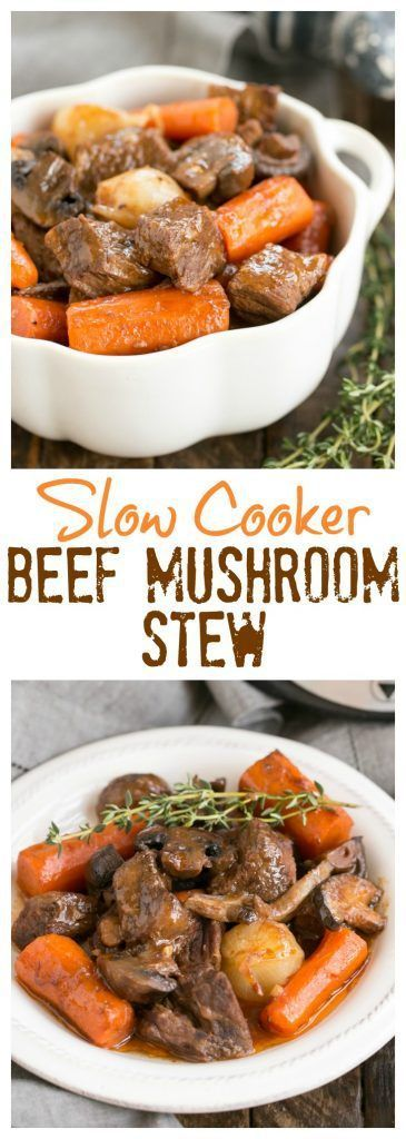 Slow Cooker Beef Stew with Mushrooms | Marvelous comfort food where the crock pot does most of the work! #bestangusbeef #steakholder #beef #stews