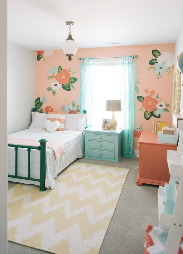 kids space adding a large statement wall to girls bedroom hand painted wallpaper nesting teenage furniture