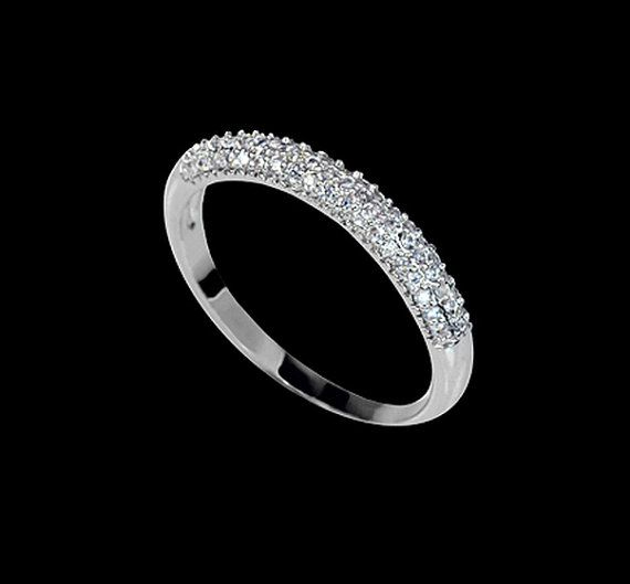 Micro Pave Wedding Band Tiny Cubic Zirconia by AmodeJewelry, $16.50