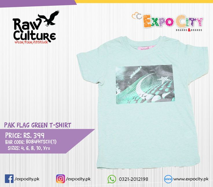 Product: Pak Flag Green T-shirt  Brand: Raw Culture  Price: Rs. 399  #Children #Boys #TShirt #Karachi #Lahore #Islamabad #OnlineShopping #ExpoCity #Kids #RawCulture #CashOnDelivery #BabyBoy #Apparel #Denim #Pakistan #Shirt #PakistanShopping #Pants #Jeans #Plain #Casual