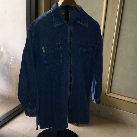 Reduced Denim zip up shirt Denim shirt/jacket with zip front Express Jeans