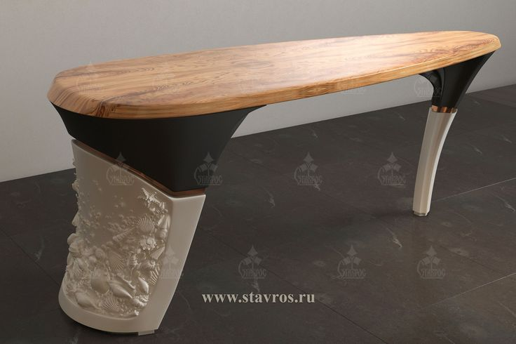 Дизайн-проект стола в современном стиле. Столешница - слэб дерева. Отделка: тонировка + лак, белая и черная эмаль. Design-project of the table in the Modern style. The countertop is slab of wood. Finish tinted glass + varnish, white and black enamel.