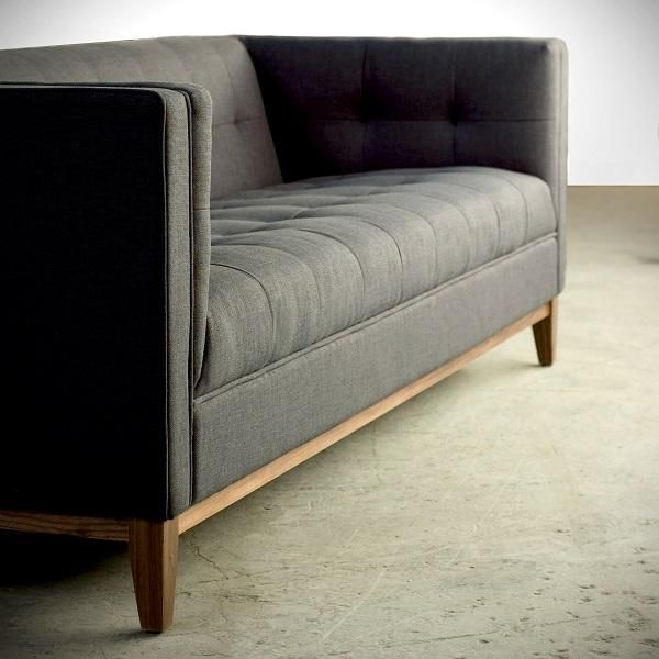 Tailored sofa in charcoal fabric