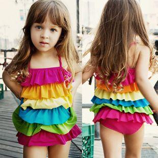 Skirt Rainbow fold splice Solid Swimwear For Girls Swimming Clothes Child Bathing Dress Swimsuit Kids Little Girls Swimwear
