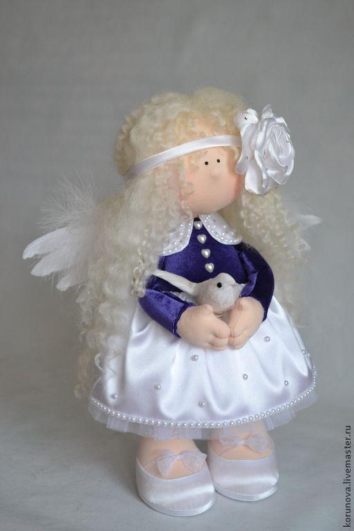 Нежный angel - тёмно-фиолетовый,белый,атласный цветок,атлас,ангел,ангелочек